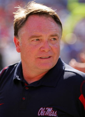 GAINESVILLE, FL - SEPTEMBER 27:  Ole Miss head coach Houston Nutt celebrates after a game against the University of Florida at Ben Hill Griffin Stadium on September 27, 2008 in Gainesville, Florida.  (Photo by Sam Greenwood/Getty Images)