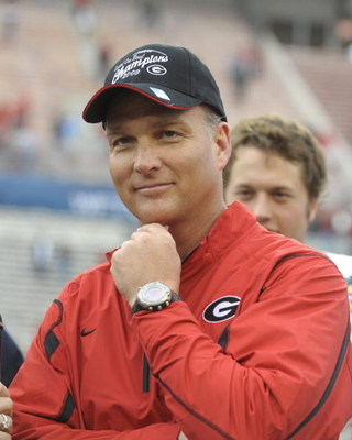 ORLANDO, FL - JANUARY 1: Coach Mark Richt of the University of Georgia smiles during a post-game awards presentation against the Michigan State Spartans at the 2009 Capital One Bowl at the Citrus Bowl on January 1, 2009 in Orlando, Florida.  (Photo by Al