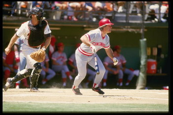 1990:  Pete Rose of the Cincinnati Reds watches the ball after batting during a game. Mandatory Credit: Allsport  /Allsport