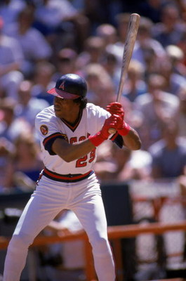 ANAHEIM, CA - SEPTEMBER 15:  Infielder Rod Carew #29 of the California Angels stands ready at bat during a MLB game against the Texas Rangers at Angel Stadium on September 15, 1985 in Anaheim, California. (Photo by Mike Powell/Getty Images)
