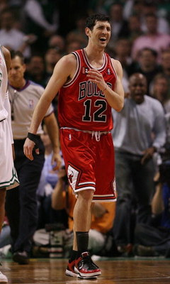 BOSTON - MAY 02:  Kirk Hinrich #12 of the Chicago Bulls reacts after a foul is called on him in the fourth quarter against the Boston Celtics in Game Seven of the Eastern Conference Quarterfinals during the 2009 NBA Playoffs at TD Banknorth Garden on May