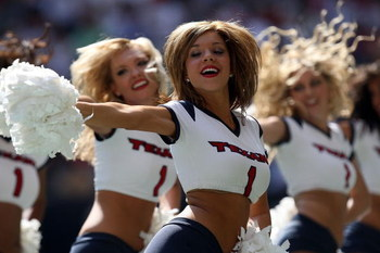 HOUSTON - OCTOBER 12:  A Houston Texans cheerleader performs during a game against the Miami Dolphins at Reliant Stadium on October 12, 2008 in Houston, Texas.  (Photo by Ronald Martinez/Getty Images)