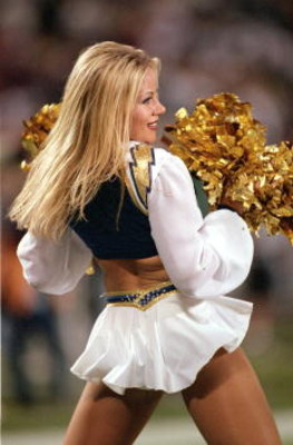 29 Oct 2000:  A Cheerleader of the San Diego Chargers performs during the game against the Oakland Raiders at Qualcomm Stadium in San Diego, California. The Raiders defeated the Chargers 18-15.Mandatory Credit: Jeff Gross  /Allsport
