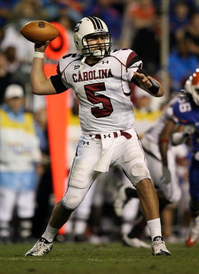 GAINESVILLE, FL - NOVEMBER 15:  Quarterback Stephen Garcia #5 of the South Carolina Gamecocks throws a pass while taking on the Florida Gators at Ben Hill Griffin Stadium on November 15, 2008 in Gainesville, Florida. Florida defeated South Carolina 56-6.