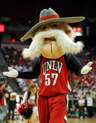 LAS VEGAS - MARCH 12:  The mascot of the UNLV Rebels 'Hey Reb' appears during a game against the San Diego State Aztecs during a quarterfinal game of the Conoco Mountain West Conference Basketball Championships at the Thomas & Mack Center March 12, 2009 i