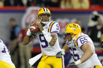 ATLANTA - DECEMBER 31:  Quarterback Jordan Jefferson #9 of the LSU Tigers looks to pass the ball during the Chick-fil-A Bowl against the Georgia Tech Yellow Jackets on December 31, 2008 at the Georgia Dome in Atlanta, Georgia. (Photo by Kevin C. Cox/Getty
