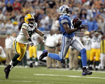 DETROIT - SEPTEMBER 14:  Calvin Johnson #81 of the Detroit Lions runs for one of his two touchdown receptions against the Green Bay Packers on September 14, 2008 at Ford Field in Detroit, Michigan.  (Photo by Domenic Centofanti/Getty Images)