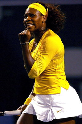 TORONTO, ON - AUGUST 19:  Serena Williams of the U.S. celebrates match point against Yaroslava Shvedova of Kazakistan during the Rogers Cup at the Rexall Center on August 19, in Toronto, Ontario, Canada.  (Photo by Matthew Stockman/Getty Images)