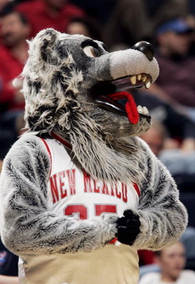 NASHVILLE, TN - MARCH 18: The mascot for the New Mexico Lobos watches from the sidelines as the Lobos take on the Villanova Wildcats in the first round of the NCAA Division I Men's Basketball Championship at the Gaylord Entertainment Center on March 18, 2