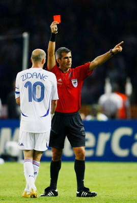 BERLIN - JULY 09:  Zinedine Zidane of France is shown a red card by Referee Horacio Elizondo of Argentina during the FIFA World Cup Germany 2006 Final match between Italy and France at the Olympic Stadium on July 9, 2006 in Berlin, Germany.  (Photo by Sha