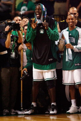 BOSTON - JUNE 17:  Kevin Garnett #5 of the Boston Celtics celebrates as the Celtics lead the Los Angeles Lakers in the fourth quarter of Game Six of the 2008 NBA Finals on June 17, 2008 at TD Banknorth Garden in Boston, Massachusetts. The Celtics defeated