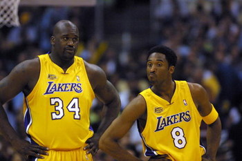 8 Jun 2001:  Kobe Bryant #8 and Shaquille O''Neal #34 of the Los Angeles Lakers in game two of the NBA Finals against the Philadelphia 76ers at Staples Center in Los Angeles, California.  The Lakers won 98-89.  DIGITAL IMAGE.  Mandatory Credit: Jed Jacobs