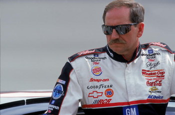 28 Apr 2000:  A close up of Dale Earnhardt Sr. as he looks on during the NAPA Auto Parts 500, Part of the NASCAR Winston Cup Series, at the California Speedway in Fontana, California. Mandatory Credit: Jon Ferrey  /Allsport