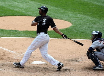 CHICAGO - JUNE 8: Jermaine Dye #23 of the Chicago White Sox hits a two-run home run in the fifth inning against the Detroit Tigers at U.S. Cellular Field June 8, 2009 in Chicago, Illinois. (Photo by Jonathan Daniel/Getty Images)