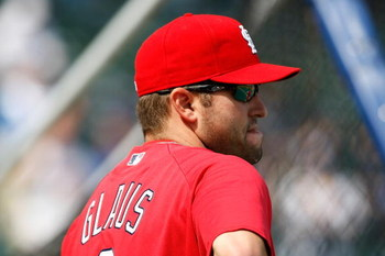CHICAGO, IL - SEPTEMBER 19: Third baseman Troy Glaus #8 of the St. Louis Cardinals watches batting practice prior to the game against the Chicago Cubs at Wrigley Field on September 19, 2008 in Chicago, Illinois. (Photo by Scott Boehm/Getty Images)
