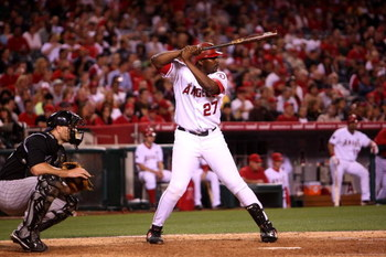 ANAHEIM, CA - JUNE 23:  Vladimir Guerrero #27 of the Los Angeles Angels of Anaheim bats against the Colorado Rockies on June 23, 2009 at Angel Stadium in Anaheim, California.  The Angels won 4-3.  (Photo by Stephen Dunn/Getty Images)