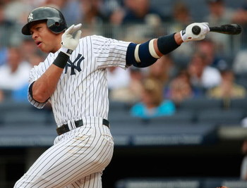 NEW YORK - AUGUST 12:  Alex Rodriguez #13 of the New York Yankees hits a single in the first inning during the game against the Toronto Blue Jays on August 12, 2009 at Yankee Stadium in the Bronx Borough of New York City. (Photo by Jared Wickerham/Getty I