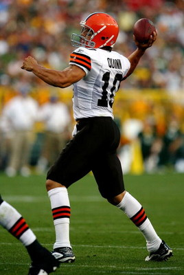 GREEN BAY, WI - AUGUST 15:  Quarterback Brady Quinn #10 of the Cleveland Browns passes the ball against the Green Bay Packers during the preseason game at Lambeau Field on August 15, 2009 in Green Bay, Wisconsin.  (Photo by Jonathan Daniel/Getty Images)
