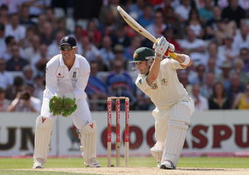 LEEDS, UNITED KINGDOM - AUGUST 08:  Michael Clarke of Australia cover drives with Matthew Prior of England looking on during day two of the npower 4th Ashes Test Match between England and Australia at Headingley Carnegie Stadium on August 8, 2009 in Leeds
