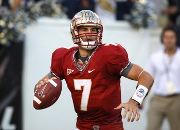 ATLANTA - NOVEMBER 1:  Quarterback Christian Ponder #7 of the Florida State Seminoles rolls out and looks to pass during the game against the Georgia Tech Yellow Jackets at Bobby Dodd Stadium at Historic Grant Field on November 1, 2008 in Atlanta, Georgia