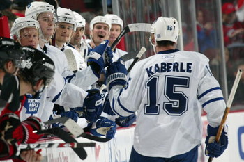 NEWARK, NJ - OCTOBER 29:  Tomas Kaberle #15 of the Toronto Maple Leafs skates to the bench during the game against the New Jersey Devils on October 29, 2008 at Prudential Center in Newark, New Jersey. (Photo by Bruce Bennett/Getty Images)