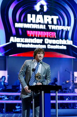 LAS VEGAS - JUNE 18:  Alexander Ovechkin of the Washington Capitals accepts the Hart Memorial Trophy during the 2009 NHL Awards at The Pearl concert theater at the Palms Casino Resort on June 18, 2009 in Las Vegas, Nevada.  (Photo by Ethan Miller/Getty Im