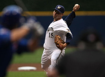 MILWAUKEE - JULY 29: Starting pitcher Ben Sheets #15 of the Milwaukee Brewers delivers the ball against the Chicago Cubs at Miller Park July 29, 2008 in Milwaukee, Wisconsin. (Photo by Jonathan Daniel/Getty Images)