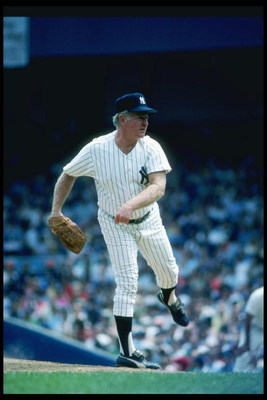 Aug 1982:  Pitcher Whitey Ford of the New York Yankees throws a pitch during a game at Yankee Stadium in Bronx, New York. Mandatory Credit: T. G. Higgins  /Allsport