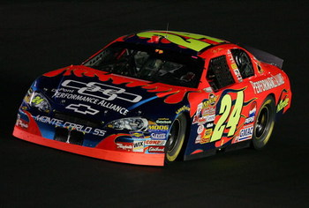 CONCORD, NC - MAY 20:  Jeff Gordon, driver of the #24 DuPont Chevrolet, comes around a turn during the NASCAR Nextel Cup Series All-Star Challenge on May 20, 2006 at Lowe's Motor Speedway in Concord, North Carolina.  (Photo by Streeter Lecka/Getty Images)