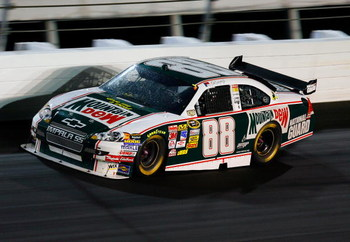 DARLINGTON, SC - MAY 10: Dale Earnhardt Jr., driver of the #88 Mountain Dew/AMP Energy/National Guard Chevrolet, races during the NASCAR Sprint Cup Series Dodge Challenger 500 on May 10, 2008 at Darlington Raceway in Darlington, South Carolina.  (Photo by