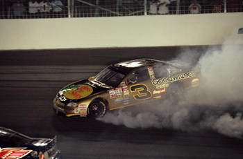 16 May 1998:  Dale Earnhardt #3 spins out of control during The Winston at the Charlotte Motor Speedway in Concord, North Carolina. Mandatory Credit: Craig Jones  /Allsport