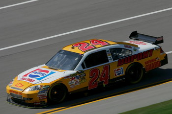 TALLADEGA, AL - APRIL 24:  Jeff Gordon, driver of the #24 Dupont/Pepsi Throwback Challenger Chevrolet, drives during practice for the NASCAR Sprint Cup Series Aaron's 499 at Talladega Superspeedway on April 24, 2009 in Talladega, Alabama.  (Photo by Todd 