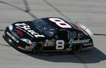 TALLADEGA, AL - April 28: Dale Earnhardt Jr., driver of the #8 Budweiser Chevrolet, drives during the NASCAR Nextel  Cup Series Aaron's 499 practice at the Talladega Superspeedway on April 28, 2006 in Talladega, Alabama.  (Photo by Andy Lyons/Getty Images