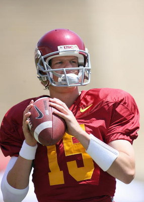 LOS ANGELES, CA - APRIL 25: Quarterback Aaron Corp #15 of the USC Trojans looks on during the spring game on April 25, 2009 at the Los Angeles Memorial Coliseum in Los Angeles, California.  The cardinal team won 16-10.  (Photo by Jeff Golden/Getty Images)