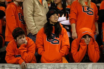 CORVALLIS, OR - NOVEMBER 29: Oregon State Beaver fans show their dejection as they fall behind to  of the Oregon Ducks at Reser Stadium on November 29, 2008 in Corvalis, Oregon.  (Photo by Jonathan Ferrey/Getty Images)