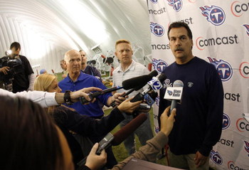 NASHVILLE, TN - MAY 1: Jeff Fisher, head coach of the Tennessee Titans addresses the media during the Tennessee Titans Minicamp on May 1, 2009 at Baptist Sports Park in Nashville, Tennessee. (Photo by Joe Murphy/Getty Images)
