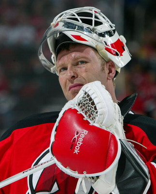 NEWARK, NJ - APRIL 23:  Martin Brodeur #30 of the New Jersey Devils looks on against the Carolina Hurricanes during Game Five of the Eastern Conference Quarterfinal Round of the 2009 NHL Stanley Cup Playoffs on April 23, 2009 at the Prudential Center in N