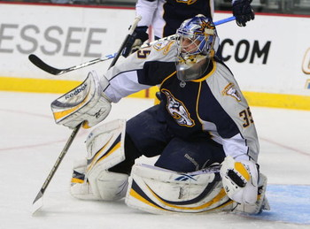 NASHVILLE, TN - FEBRUARY 05: Pekka Rinne #35 of the Nashville Predators makes the stop against the Anaheim Ducks on February 5, 2009 at the Sommet Center in Nashville, Tennessee. (Photo by Bruce Bennett/Getty Images)