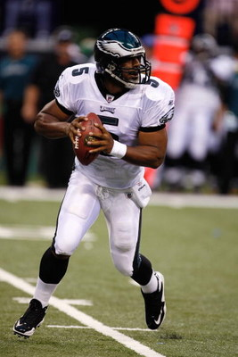 INDIANAPOLIS, IN - AUGUST 20: Quarterback Donovan McNabb #5 of the of the Philadelphia Eagles runs with the football against the Indianapolis Colts at Lucas Oil Stadium on August 20, 2009 in Indianapolis, Indiana. (Photo by Scott Boehm/Getty Images)