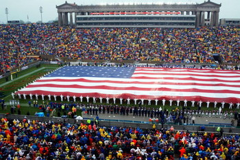 394938 01: More Than 250 Sailors Assigned To The Naval Training Center In Great Lakes, Il, Unfurl A Huge Us Flag September 23, 2001 During Opening Ceremonies At The Chicago Bears Home Game Upon Resumption Of The Regular Nfl Schedule. The Flag, Said To Be