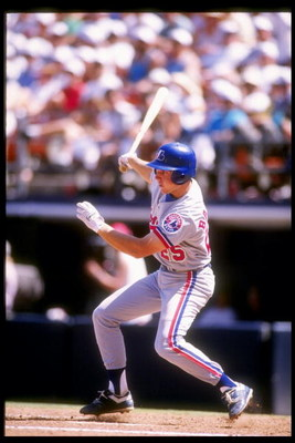 30 Apr 1992: Shortstop Bret Barbarie of the Montreal Expos swings at the ball during a game against the San Diego Padres.