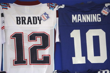 GLENDALE, AZ - FEBRUARY 03:  Jerseys are sold outside University of Phoenix Stadium before Super Bowl XLII between the New York Giants and the New England Patriots on February 3, 2008 in Glendale, Arizona.  (Photo by Donald Miralle/Getty Images)
