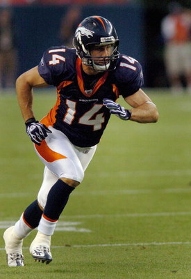 DENVER - AUGUST 25:  Wide receiver Brandon Stokley #14 of the Denver Broncos heads out on a route in the first half of the pre-season football game against the Cleveland Browns on August 25, 2006 at Invesco Field at Mile High in Denver, Colorado.  (Photo