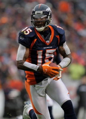 DENVER - OCTOBER 12:  Wide receiver Brandon Marshall #15 of the Denver Broncos makes a reception against the Jacksonville Jaguars during NFL action at Invesco Field at Mile High on October 12, 2008 in Denver, Colorado. The Jaguars defeated the Broncos 24-