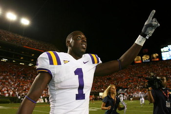 AUBURN, AL - SEPTEMBER 20: Wide receiver Brandon LaFell #1 of the LSU Tigers celebrates after defeating the Auburn Tigers at Jordan-Hare Stadium on September 20, 2008 in Auburn, Alabama. (Photo by Doug Benc/Getty Images)