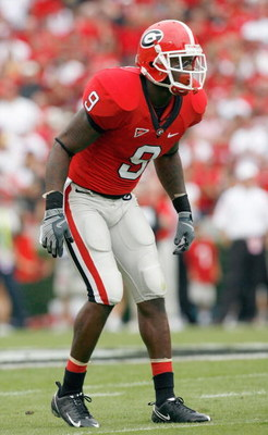 ATHENS, GA - OCTOBER 11:  Reshad Jones #9 of the Georgia Bulldogs gets ready on field during the game against the Tennessee Volunteers at Sanford Stadium on October 11, 2008 in Athens, Georgia.  (Photo by Kevin C. Cox/Getty Images)