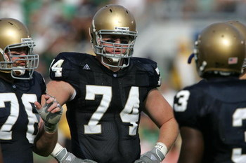 SOUTH BEND, IN - SEPTEMBER 16:  Right offensive tackle Sam Young #74 of the Notre Dame Fighting Irish is seen on the field against of the Michigan Wolverines September 16, 2006 at Notre Dame Stadium in South Bend, Indiana. Michicagn won 47-21. (Photo by J