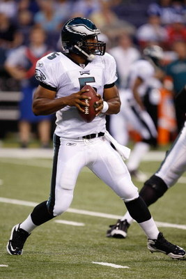 INDIANAPOLIS, IN - AUGUST 20: Quarterback Donovan McNabb #5 of the of the Philadelphia Eagles drops back to pass  the football against the Indianapolis Colts at Lucas Oil Stadium on August 20, 2009 in Indianapolis, Indiana. (Photo by Scott Boehm/Getty Ima