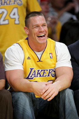 LOS ANGELES, CA - MAY 21:  John Cena attends Game Two of the Western Conference Finals during the 2009 NBA Playoffs between the Los Angeles Lakers and the Denver Nuggets at Staples Center on May 21, 2009 in Los Angeles, California.  (Photo by Noel Vasquez