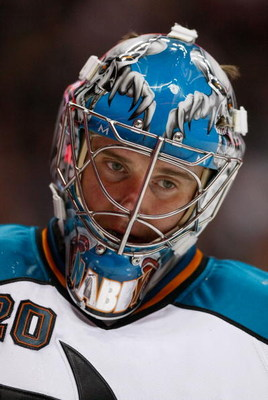 ANAHEIM, CA - APRIL 27:  Evgeni Nabokov #20 of the San Jose Sharks stands on the ice during the Sharks 4-1 loss to the Anaheim Ducks during Game Six of the Western Conference Quarterfinal Round of the 2009 Stanley Cup Playoffs at the Honda Center on April